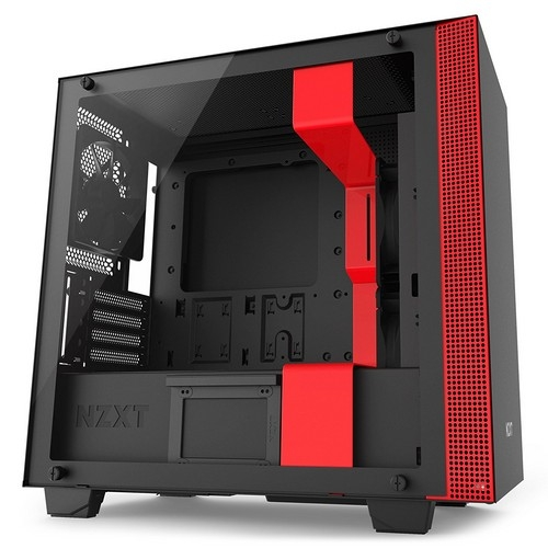 NZXT H400i Micro-ATX Computer Case, Black/RED | CA-H400W-BR
