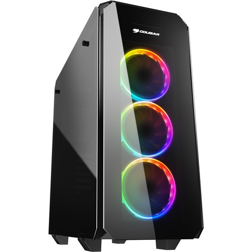 Cougar PURITAS RGB Tempered Glass Cover Mid Tower Gaming Case with 3 x Vortex RGB Fans and A Core Box |