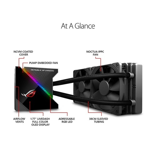 ROG Ryujin 240 all-in-one liquid CPU cooler with LiveDash color OLED, Aura Sync RGB and 2x Noctua iPPC 2000 PWM 120mm radiator fans | ROG Ryujin 240