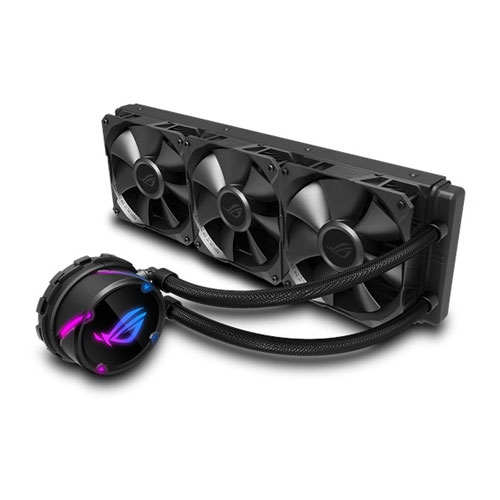 ASUS ROG Strix LC 360 all-in-one Liquid CPU Cooler with Aura Sync RGB, and Triple ROG 120mm Radiator Fans - Black | 90RC0071-M0UAY0