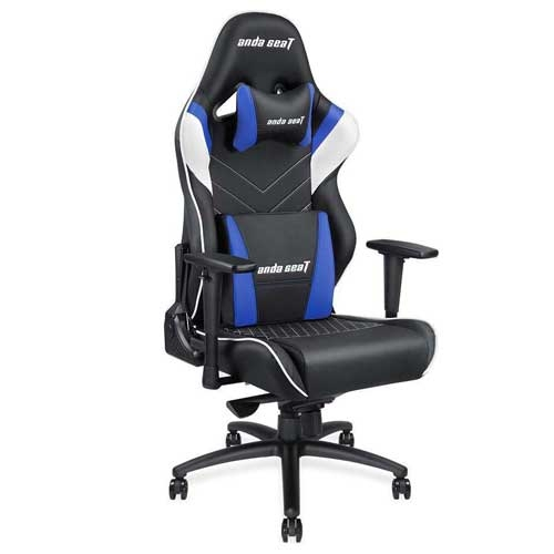 Anda Seat Assassin King Series Big and Tall Gaming Chair - High-Back Desk and Office Chair 400LB With Lumbar Support and Headrest - Black/White/Blue | AD4XL-03-BWS-PV