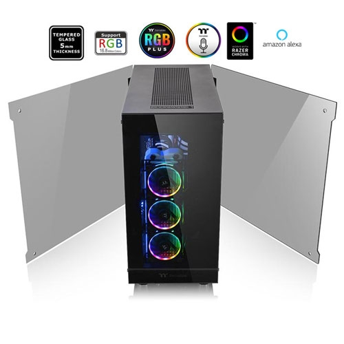 Thermaltake View 91 RGB Plus Tempered Glass with 4 RGB Riing PLUS Fan SPCC XL-ATX Gaming Super Tower Computer Case - Black | CA-1I9-00F1WN-00