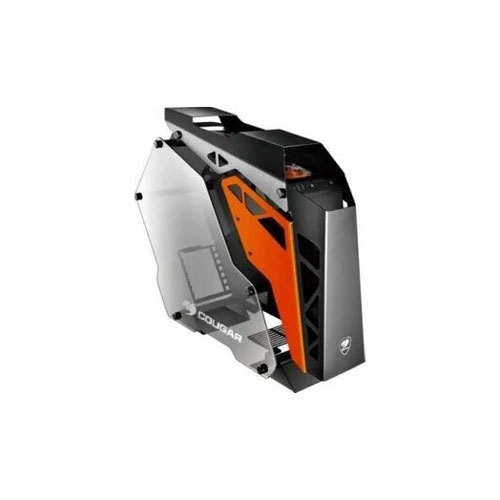 Cougar Conquer Tempered Glass Aluminum ATX Mid-Tower ATX Gaming Computer Case - Black / Orange | CG-GC-CONQUER-BLK