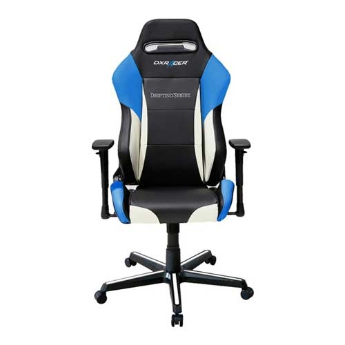 DXRacer Drifting Series Newedge Edition Racing Bucket Seat - eSports Gaming Chair With Pillows - Black/White/Blue | GC-D61-NWB-M4