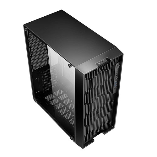 Tortox IRIS Full Tempered Glass Aura Supported 3D Reflection RGB Case with Remote Full Tower Gaming Computer Case - Black