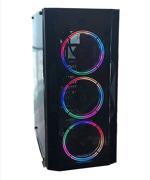 Tortox Neon V2 RGB Mid Tower Acrylic Side Panel Computer Case With 3 Tortox Arcus RGB Fans